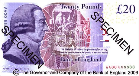 The new British 20 pound note